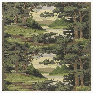 Vertically repeating landscape scene looking through a clearing of trees to distant mountains in the background. Printed in shades of green and brown on a grey ground.