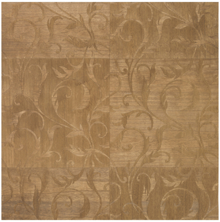 Marquetry of thin Paulownia wood veneer in a vining foliate pattern. Each panel is three repeats in length by two repeats wide, while the wood forming the background rotates 90 degrees in each neighboring square forming a checkerboard pattern. The grain of the foliate motif runs perpendicular to the background veneer. The veneer has been given a walnut stain.