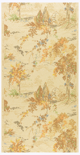 "Pastoral scene composed of trees and foliage in drop repeat. Simulates mural painting. The embossed ground resembles rough plaster and is flecked with burnt umber and rubbed with finely powdered mica. Printed in selvedge: ""Made in U.S.A., Union Made, United W.P. Fac."" ""Sun Tested produced under Fleck Pat 1958926."""