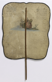 """Large, hand-held fire screen on a wooden stick. The obverse has a scene of a older man at a desk approached by a younger man, with two servants in attendance, entitled """"Le fils prodigue fait rendre compte a son Pere de son legitime"""" (The Prodigal son makes claim to his father for his legitimacy). On the reverse is a scene of a woman seated at a writing desk, with music and lyrics for two songs, """"Le Berger amoureux"""" and """"La Bergere contente"""" (The Shepherd in Love and The Happy Shepherdess)."""