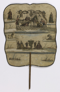 "Large, hand-held fire screen on a wooden stick. The obverse has a scene of a older man at a desk approached by a younger man, with two servants in attendance, entitled ""Le fils prodigue fait rendre compte a son Pere de son legitime"" (The Prodigal son makes claim to his father for his legitimacy). On the reverse is a scene of a woman seated at a writing desk, with music and lyrics for two songs, ""Le Berger amoureux"" and ""La Bergere contente"" (The Shepherd in Love and The Happy Shepherdess)."