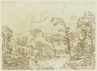 Sketch of a town with trees on each side and a large mountain in the background.  In the middle ground are figures.