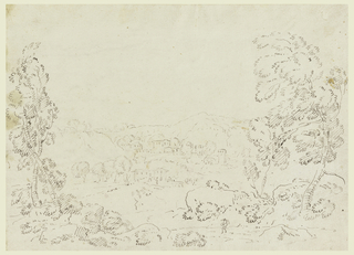Drawing, View of a Village in Mountainous Country