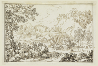 Foreground: foud people on the left with large trees surrounding them. In the middleground are two people, one is riding a horse walking on a path towards a building. In the background is a building. To the right, is a large cliff or mountain.