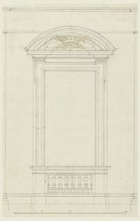 Wall panel, balustrade between pedestals is beneath the opening. A circular pediment with a crown and two palm branches in the field. Scale below.