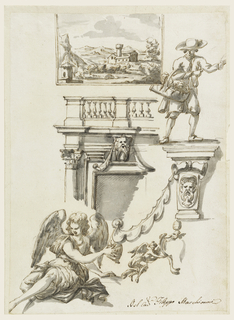 Top: landscape with a villa in mountainous country. Center left: upper left part of elevation of a façade; upper part of a column, and window frame, left part of entablature and balustrade. Center: a peddling farmer. Bottom: a seated genius, flying genius carrying the left half of a papa escutcheon.