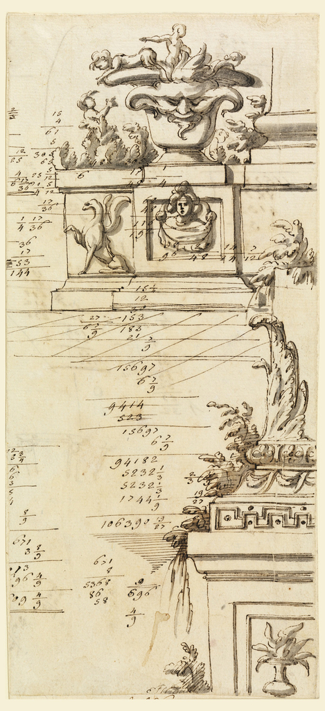 Architectural elements consisting of an urn atop a pedestal with a griffin, putti. Lower right, plant like forms atop a pedestal. Accounts.