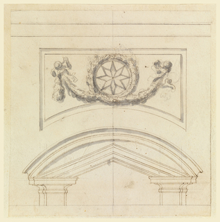 Detail of the top of an arch with two columns holding it. Above arch is a wreath with a star in the center and two abstract figures holding foilage (possibly angle figures).