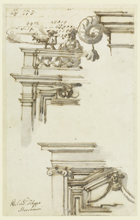 In the upper right corner is the left part of an entablature with a parapet from which a ram horn springs, with a blossom hanging like a tassel from its point. At left is the upper left part of a door frame. Above the entablature is a parapet behind which a woman and man stand. Below, at right is the upper left part of a door frame with the entablature above it. The door has an over door with a triangular pediment, with a head and festoons in front. In the upper left corner are accounts.