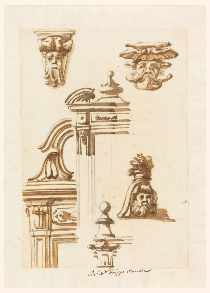 Left row: a console with a mask; upper part of door case, laterally framed by a pilaster. A decorated panel is in the frieze above the opening. On top is an oblong framed by scrolls and halves of palmettes. Central row: upper left side of a door or window case, showing a broken pediment with a knob motif in the center. A capital supports cornices and a knob. Right row: two masks, the upper one supporting a shell, the lower one a vase with twigs.