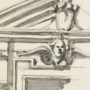 Surbased pediment with a cherub above the window frame; below, a one-story structure, with a balustrade above the entablature, supported by embedded columns. Executed are: an intercolumnation containing an opening, framed by rustic work; the larger part of the one at right, containing a window. Two persons are in the opening; pavement in front.