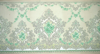 Alternating large and small foliate medalions enclose monochromatic bouquets.  Rolling foliate scroll and green beading on bottom. Similar foliate scrolls on top suspending green floral swags. Designed and printed to similate a textile applique, cross stitch, or needle work. Printed in greens and white on green background.