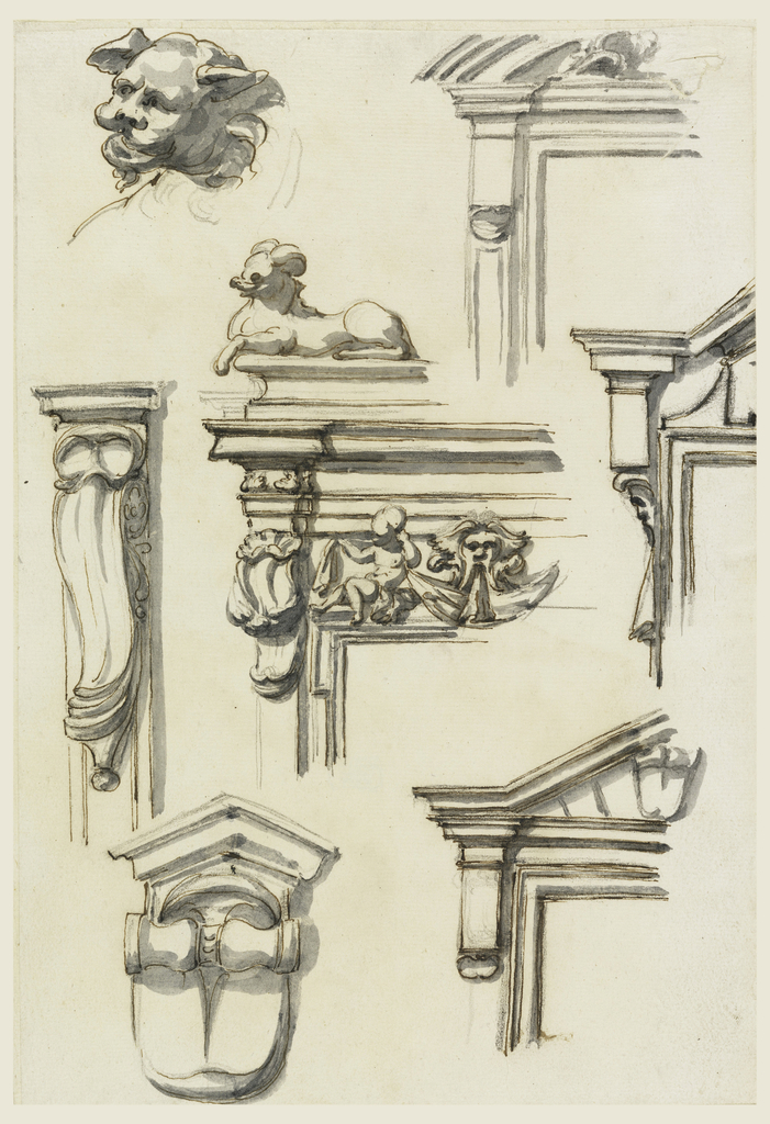 Top row: the head of an animal. Upper left part of a window or door frame. Center row: decoration of a pilaster, two upper part s of window or door frames. Center one shows a putto with a drapery festoon and a mask over the frame of the opening. Beside is a pilaster supporting the main entablature. A crouching animal is shown in profile turned toward left above that. Bottom row: a console with a pediment; a variation of the design.