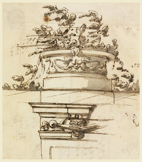 Design for an architectural ornament with grotesque ornament. Plants and measurements at top.