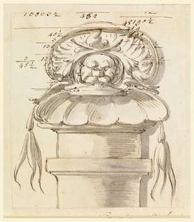 Atop a column, a mask with shell and foliage. Accounting above and tip of missing text belwo