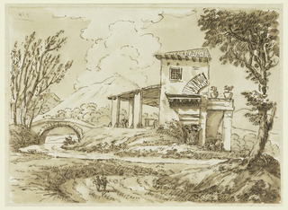 Foreground: two people walking along a path towards a stream. Behind the stream is a bridge and a house. In the background is a large mountain and clouds billowing out of the mountain.
