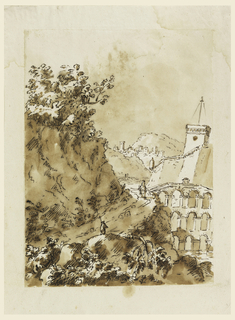 Landscape drawing of an aquaduct and building with a tower, possibly a church. Two men walk along a path leading to the town.