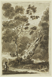Foreground stands one man with a backpack and walking stick. Middleground consists of a large protruding tree trunk and three figures in a circle. Background consists of brush.