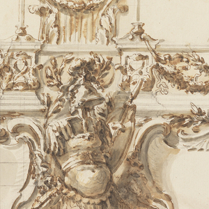 On top are three capitals connected by an entablature, with candles standing beside the capitals, except at the left, where the capital is on top of a column and the candlestick is farther from it. The entablature is decorated with festoons. Below the entablature is a frieze with two escutcheons beside a trophy of arms. Partially squared.