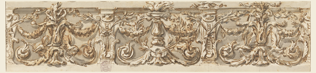 Three panels framed by pilasters, with alternate variations. The central panel has in the middle a candelabrum with a burning fire above a leaf base, the lateral panels have a floral candelabrum upon a similar base with two flying birds breaking stems of the rinceaux protruding from the bases. Two festoons are suspended beside each of the candelabra. In front of the pilasters are two crossed branches, fastened by a knot whose ends are hanging into the panels.