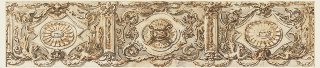 Three panels framed by oblongs with masks above and below, supporting festoons, whose other ends are supported in the lateral panels by masks above and below, and in the central panel by rinceaux. Inside the panels are smaller ones framed by bands, with an oval containing a shell, at left and right, and a motif of four shells in the center; rinceaux; half-figures of winged animals at left and right.