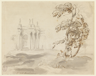 Foreground at right: group of trees. Center: water welling from rocks at left. Upon the rocks a ruin with a big niche, a high arch and columns. On the roof four statues. On verso: sketches in graphite, architectural motifs mostly of an oval room.