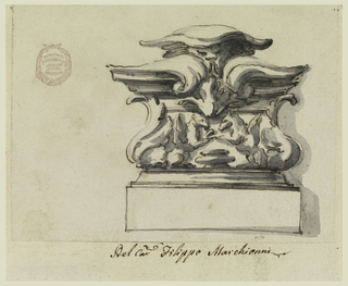 Architectural element consisting of an ornamental capital with vegetal motif on a pedestal.