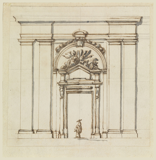 Archway with a figure underneath. Four pilasters, two on each side flank the arch. A doorway is in the arch. Above the doorway are two reclining figures with wings on a small pediment.