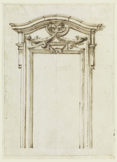 Doorway with curve at top. Foilage hangs in the center above the doorway.