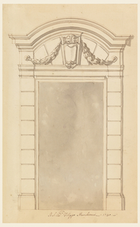 Door case with a circular pediment with straight lateral parts. Inside is a console, supporting festoons together with round plates in the frieze above the capitals.