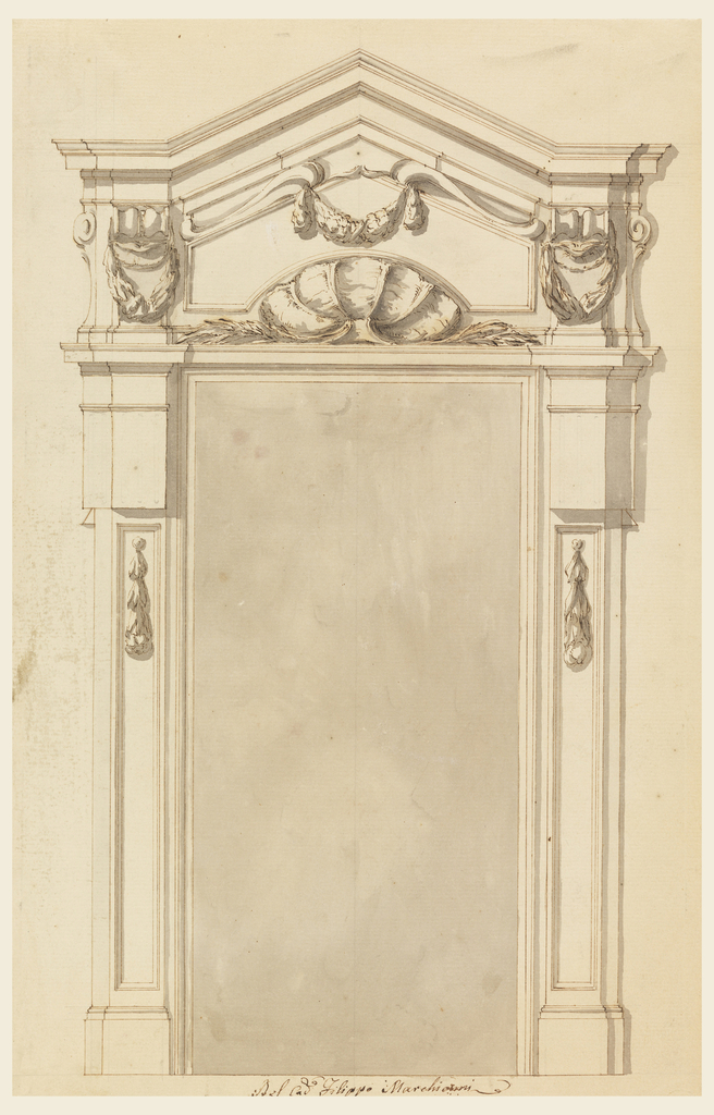 Pointed pediment; a shell with lateral branches; a panel with shell outline. Panel contains festoon hanging from two scrolls above; entablature is right above the door frame. The bodies of the pillars supporting the entablature consist of an upper part with triglyphs and a receding lower pillar strip with short hanging garlands.
