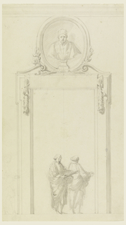 An inscription tablet from which two garlands are suspended in front of the top part of the door frame. The over door is formed by a niche between two low cornices; bust of a pope. Two reading men in the doorway, a third one slightly sketched at left.