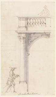 With construction lines. Woman standing on balcony; gentleman with stick walking. Scale.