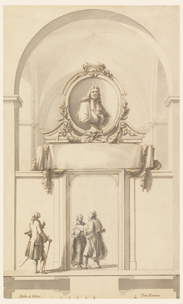 "A high parapet connects opposite pilasters of a church nave. It is interrupted by a door opening in which two men stand carrying books. Over the door are a paper scroll entwined with a garland and a broken pediment in which the bust of a man stands before an ovoidal niche. A stylishly clad young man looks up to the last. Bordering line at the bottom; underneath: the plan and the scale: ""Scala di Palmi….Dieci Romani."""