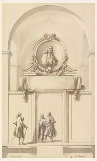 """A high parapet connects opposite pilasters of a church nave. It is interrupted by a door opening in which two men stand carrying books. Over the door are a paper scroll entwined with a garland and a broken pediment in which the bust of a man stands before an ovoidal niche. A stylishly clad young man looks up to the last. Bordering line at the bottom; underneath: the plan and the scale: """"Scala di Palmi….Dieci Romani."""""""