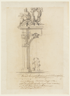 An arch with a mask as a keystone, and with pillars supporting the entablature. Above is a broken pediment with a papal escutcheon standing upon a foot in the center. Upon the cornice the figure of a woman. A priest and a man conversing. Below is the scale.