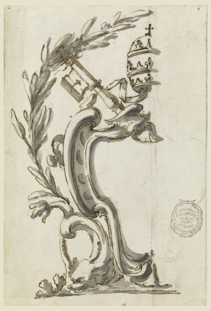 Partial cartouche with military symbols and elements, a crown and a laurel wreath.