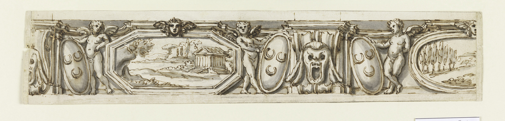 Horizontal rectangle. In the shape of an attic or a dado, whose compartments are laterally framed by projecting consoles with a mask in front. Beside them stand symmetrically winged putti, with one hand at the edge of a shield with three crescents leaning against the consoles. Between them are, alternatively in the compartments, landscapes in octagons and ovals.