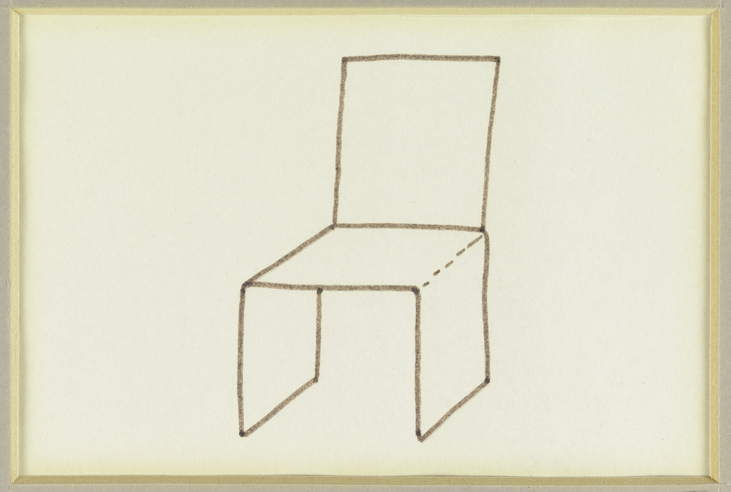 Design for a chair composed of four planes; seat and legs made of three planes; legs are parallel and back made up of fourth plane.