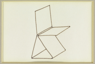Design for chair composed of five planes, three of which make up the legs and the seat in a pyramidal form.