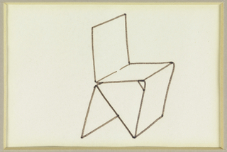 Design for a chair composed of five planes, two of which produce a triangle.