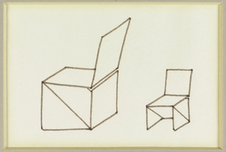 Design for a chair with two views; each from a different perspective. The chair is composed of planes adjoined into triangles for the legs with a square back.