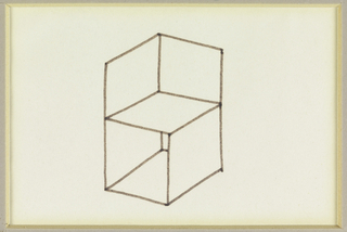 Design for a chair composed of an open-sided box with a back in the shape of an open book.