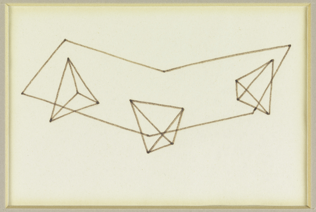 Design for a V-shaped table top with three pyramidal legs.