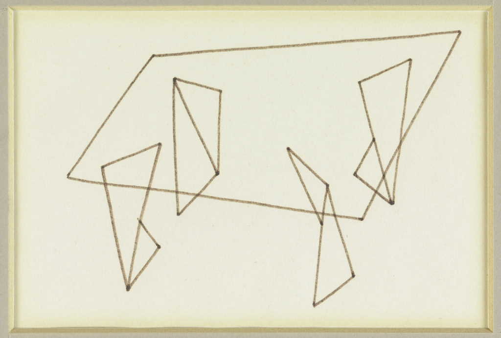 Design for a rectangular table top with four geometric legs.