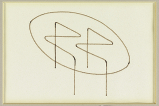 Design for an oval table top with R-shaped legs.