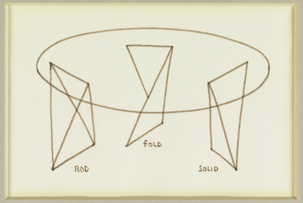 Design for an oval table with three geometric legs.