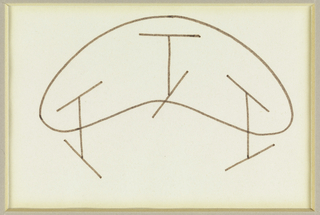 Design for a bean-shaped table with three I-shaped legs.