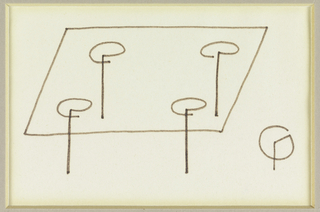 Design for a rectangular table with stick legs topped with G's that adjoin them to the table top; lower right, a detail of the leg in plan view.