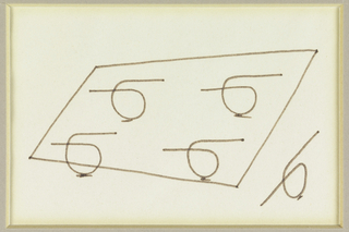 Design for a rectangular table with four looped legs; lower right, detail of leg.